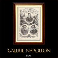 Portraits de Rabelais - Jacques Amyot - Michel Montaigne | Gravure sur bois dessinée par G. Fath, gravée par Cagosi Jeune. 1881