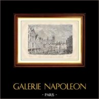 Vecchio e Primo Hôtel de Ville di Parigi - Municipio di Parigi - La Maison aux Piliers o Casa del Delfino | Incisione xilografica su legno. Anonima. 1881