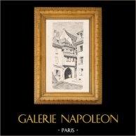 Rue St-Martin - Gata av Colmar  (Alsace - Frankrike) | Original litografi efter teckningar av Hansi. 1925