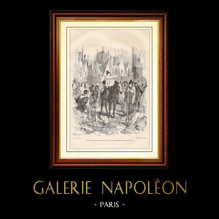 Gravures Anciennes & Dessins   Révolte des Maillotins sous Charles VI - Huissier à Cheval aux Halles   Gravure sur bois   1881
