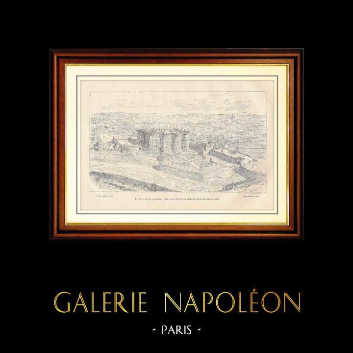 Gravures Anciennes & Dessins | Fortifications de la Bastille (1552) | Gravure sur bois | 1881