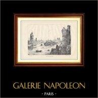 Paris - Vue de l'ile de la Cité au 15ème Siècle | Gravure sur bois gravée par Yves & Barret. 1881