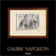 Asesinato en las Calles de París | Grabado en madera dibujado por L. Dumont, grabado por Castel. 1881