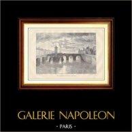 Överbrygga av Paris - Pont Notre-Dame på det 18 århundradet | Trästick efter en fotografera av Yves & Barret. 1881