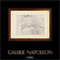 Alte Plan von Paris und der Umgebungen unter der Herrschaft von Ludwig VII (1120-1180) | Holzstich gestochen von Yves & Barret. 1881