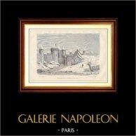Porte Saint-Michel ou d'Enfer à Paris, au XIVème Siècle | Gravure sur bois gravée par H. Senillon. 1881