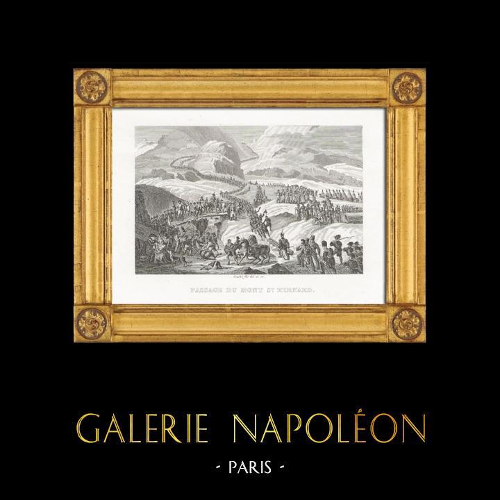 Grabados & Dibujos Antiguos   Guerras Napoleónicas - Napoleón Bonaparte Cruzando los Alpes por el Paso de San Bernardo   Grabado en talla dulce   1820