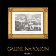 Guerras Napoleónicas - Napoleón Bonaparte Cruzando los Alpes por el Paso de San Bernardo | Original acero grabado dibujado y grabado por Couché Fils. 1820