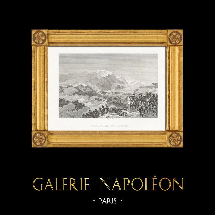 Grabados & Dibujos Antiguos | Guerras Napoleónicas - La Batalla de Rivoli (1797) | Grabado en talla dulce | 1820