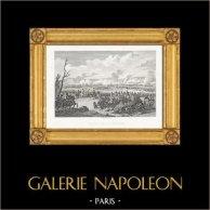 Guerres Napoléoniennes - La Bataille de Wagram (1809) | Gravure sur acier originale dessinée et gravée par Couché Fils. 1820