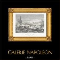 Guerres Napoléoniennes - La Bataille de Dresde - Mort de Moreau (1813) | Gravure sur acier originale dessinée et gravée par Couché Fils. 1820