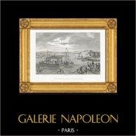 Napoleonkrigen - Toppmöte av Napoleon och Alexander I av Ryssland på den Njemen Floden (1807) (1807) | Original stålstick efter teckningar och graverade av Couché Fils. 1820