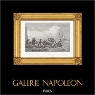 Guerres Napoléoniennes - Embarquement de Napoléon pour Sainte Hélène sur le Bellérophon (1815) | Gravure sur acier originale dessinée et gravée par Couché Fils. 1820