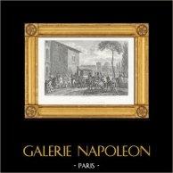 Napoleonkrigen - Konferenser - Udine Toppmöte - Freden i Campo Formio (1797) | Original stålstick efter teckningar och graverade av Couché Fils. 1820