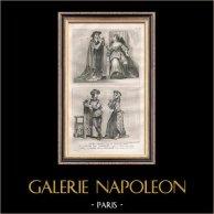 Modes et Costumes Français du XVème Siècle (15ème) - Agnès Sorel - Cour du Roi de France - Charles VII (1430) | Gravure sur acier originale. Anonyme. 1834