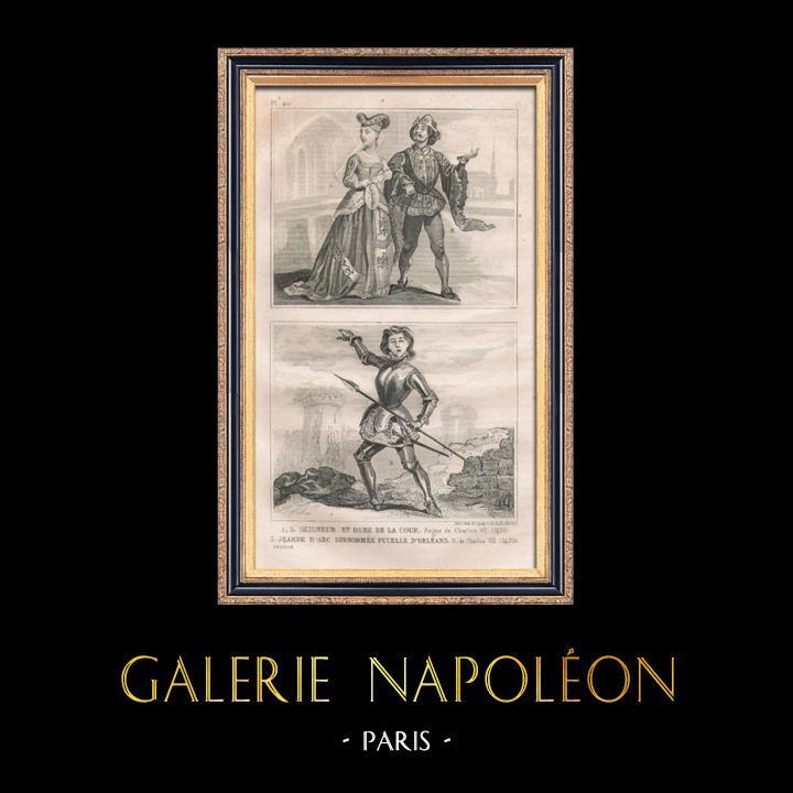 Gravures Anciennes & Dessins   Modes et Costumes Français du XVème Siècle (15ème) - Jeanne d'Arc - Cour du Roi de France - Charles VII (1430)   Taille-douce   1834