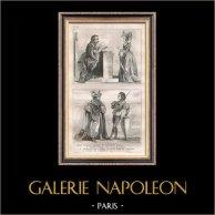 Modes et Costumes Français du XVème Siècle (15ème) - Ordre de Notre-Dame du Chardon - Cour du Roi de France - Charles VI (1400) | Gravure sur acier originale. Anonyme. 1834
