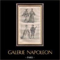 Modes et Costumes Français du XIVème Siècle (14ème) - Cour du Roi de France - Charles VI (1393 / 1395) | Gravure sur acier originale dessinée par F.H. Lalaisse . 1834