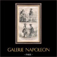 Moda Francesa y Trajes Militares - Estilo Siglo 16 / XVI - Nobleza - Almirante - Corte del Rey de Francia - Francisco I (1530) | Original acero grabado dibujado por F.H. Lalaisse. 1834