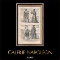Modes et Costumes Militaires Français du XVème Siècle (15ème) - Noblesse - Cour du Roi de France - Charles VIII (1490) | Gravure sur acier originale dessinée par F.H. Lalaisse. 1834