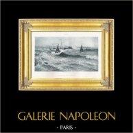 Sailing Ships - Strait of Saint-Guenole (Maurice François Courant)