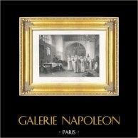 Napoleão - Marechal de França Imperial - Marechal Lannes ao Convento de Sankt Pölten (Albert-Pierre Dawant) | Fotogravura original. Anónima segundo A.P. Dawant . 1895