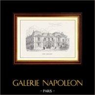 Vue de Paris - Monuments Historiques de Paris - Hôtel Carnavalet | Gravure sur bois originale. Anonyme. 1870