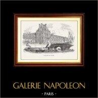 Synhåll - Historiska Platserna och Monumenten i Paris - Pavillon de Flore - Louvre - Seine - Ångfartyg | Original trästick efter teckningar av E. Lefebvre, graverade av Morin. 1870