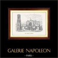 Vue de Paris - Monuments Historiques de Paris - Eglise Saint Germain l'Auxerrois | Gravure sur bois originale dessinée par C. Fichot. 1870