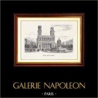 Vue de Paris - Monuments Historiques de Paris - Eglise Saint Sulpice | Gravure sur bois originale gravée par E. Guillaumot. 1870