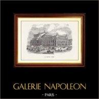 Vue de Paris - Monuments Historiques de Paris - Le Nouvel Opéra de Paris - Palais Garnier | Gravure sur bois originale dessinée par E. Lefebvre, gravée par V. Parent. 1870