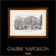 Vue de Paris - Monuments Historiques de Paris - Boulevard Montmartre | Gravure sur bois originale dessinée par A. Trichon, gravée par E. Morin. 1870