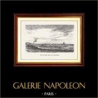 Vista de París - Monumentos Históricos de París - Vista de París desde el Trocadero | Original grabado en madera dibujado por M. Lalanne, grabado por H. Boetzel. 1870