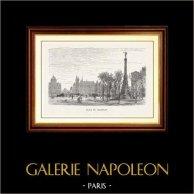 Vue de Paris - Monuments Historiques de Paris - Place du Châtelet | Gravure sur bois originale dessinée par M. Lalanne, gravée par A. Trichon. 1870