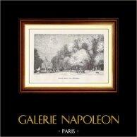 Vue de Paris - Monuments Historiques de Paris - Jardin des Tuileries - Grand Bassin des Tuileries | Gravure sur bois originale dessinée par P. Huet, gravée par C. Mavrand. 1867