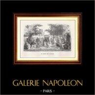 Vue de Paris - Monuments Historiques de Paris - Jardin des Tuileries | Gravure sur bois originale dessinée par E. Hédoin , gravée par J.F. Delduc. 1867