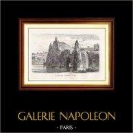 Vista di Parigi - Monumenti Storici di Parigi Francia - Parco - Il Tempio di Sibilla - Parc des Buttes Chaumont (Lago) | Incisione xilografica originale disegnata da M. Lalanne, incisa da A. Trichon. 1867