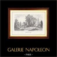 Vista di Parigi - Monumenti Storici di Parigi Francia - Parco - Giardino - Square du Temple | Incisione xilografica originale disegnata da M. Lalanne, incisa da A. Trichon. 1867