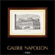 Vista di Parigi - Monumenti Storici di Parigi Francia - Les Halles Centrales - Halles de Paris | Incisione xilografica originale incisa da U. Parent. 1867