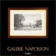 Vista di Parigi - Monumenti Storici di Parigi Francia - Parco - Giardino - Parc Monceau con l'Arco di Trionfo in fondo | Incisione xilografica originale disegnata da M. Lalanne, incisa da A. Trichon. 1867