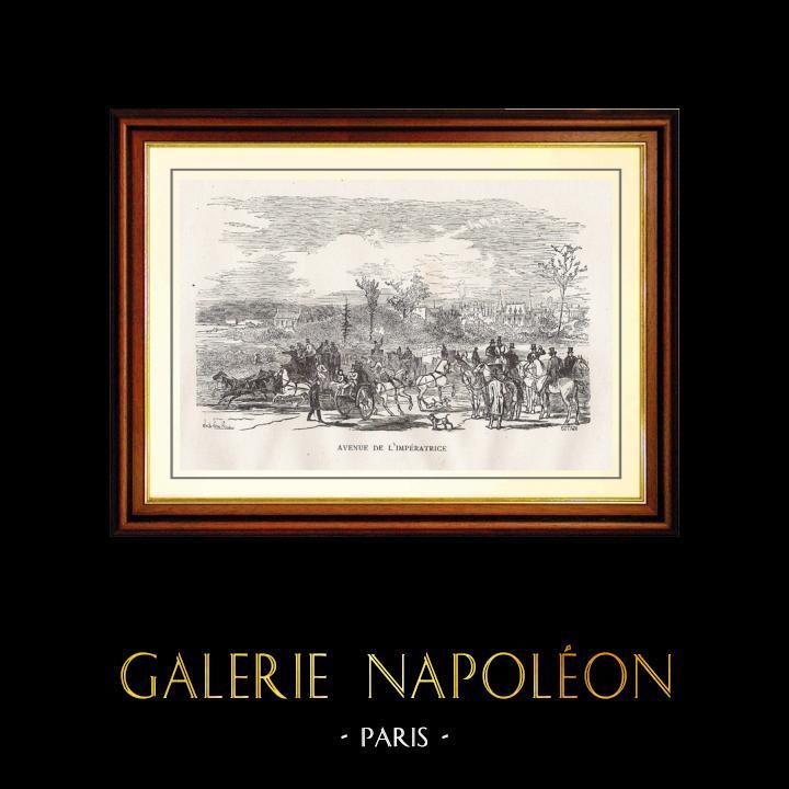 Gravures Anciennes & Dessins   Vue de Paris - Monuments Historiques de Paris - Avenue de l'Impératrice (Avenue Foch)   Gravure sur bois   1867
