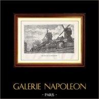 Vue de Paris - Monuments Historiques de Paris - Moulin de la Galette - Les Moulins de Montmartre | Gravure sur bois originale dessinée par E. Vernier, gravée par Yon-perrichon. 1867