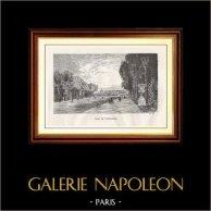 Vista di Parigi - Monumenti Storici di Parigi Francia - Parco - Giardino - Reggia di Versailles | Incisione xilografica originale disegnata da M. Lalanne, incisa da H. Boetzel. 1867