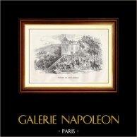 Monuments Historiques - Parc - Jardin - Terrasse du Château de Saint-Germain-en-Laye | Gravure sur bois originale dessinée par E. Morin, gravée par J. Ansseau. 1867