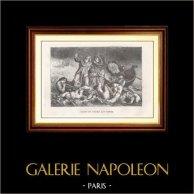 La Barque de Dante - Dante et Virgile aux enfers (Eugène Delacroix) | Gravure sur bois originale gravée par Blanpain d'après E. Delacroix. 1867
