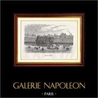 Vista di Parigi - Monumenti Storici di Parigi - Place Royale (Place des Vosges) | Incisione xilografica originale disegnata da Delauney, incisa da N.E. Sotain. 1867