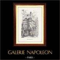 Vue de Paris - Monuments Historiques de Paris - Hotel Barbette (Le Marais) | Gravure sur bois originale gravée par N.E. Sotain. 1867
