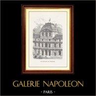 Vue de Paris - Monuments Historiques de Paris - Louvre - Pavillon de l'Horloge (Pavillon Sully) | Gravure sur bois originale dessinée par Parent, gravée par E. Guillaumot. 1867