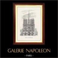 View of Paris - Historical Monuments of Paris - Portal of the Cathedral Notre-Dame de Paris | Original wood engraving. Anonymous. 1867