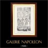 Synhåll - Historiska Platserna och Monumenten i Paris - Koret i Katedral Notre-Dame de Paris (1200-talet) | Original trästick graverade av E. Guillaumot. 1867